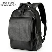 Wholesale Leather Fashion Backpack Vintage - Leather Men Backpack For Man 2017 Backpacks Black Backpacks Male Fashion Rucksack Schoolbags Black Backpack Business Laptop Bags