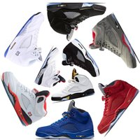 Wholesale gold 5s - 2018 mens Basketball shoes 5 5s V Olympic metallic Gold White Cement Man OG Black Metallic red blue Suede Sport Sneakers size 7-13