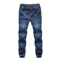 corda de denim venda por atacado-2018 MUQGEW Algodão Homens Moda Calças dos homens Casuais Outono Denim Algodão Elástico Sorteio Cordão Calça Jeans Calças de Trabalho