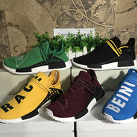 """Wholesale factory family - [Double Box]Human Race Hu nmds Factory Real Boost Pharrell Williams Running Shoes Sport Friends and Family"""" Yellow Red Green Black Blue Or"""