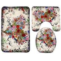 ingrosso stuoia del bagno del cuore-Set tappetino da bagno 3 pezzi Happy Valentines Day Flower Heart Pattern Set da bagno antiscivolo e tappetino da bagno