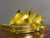 ingrosso assemblaggio dei kit per giocattoli-Kit di mattoni da costruzione Giocattoli 3D Puzzle di metallo Kit di costruzione del Teatro dell'Opera di Sydney Kit di taglio laser 3D fai da te Assemblare Giocattoli da costruzione