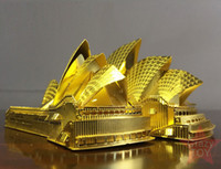 3d ev binası toptan satış-Yapı Taşı Tuğla Kitleri Oyuncaklar 3D Metal Bulmaca Sydney Opera binası Bina Modeli Kitleri DIY 3D Lazer Kesim Araya Bina Yapboz Oyuncaklar