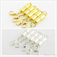 Wholesale powerful hook - Silver Gold Plated 6mm Powerful Magnetic Magnet Necklace lobster Clasps cylinder Clasps for Necklace Jewelry DIY