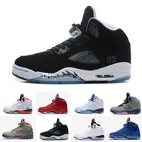 Wholesale Mark Pu Leather - 2017 5 V men Basketball Shoes Olympic OG metallic Gold Tongue Black Metallic Space jam Fire Red Mark Ballas Sport Sneakers
