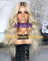 Wholesale platinum long wigs - Wholesale Long Natural Wave Platinum Blonde Full Lace Wigs 150% Density Indian Human Hair Blonde Lace Front Middle Part Wigs With Dark Roots