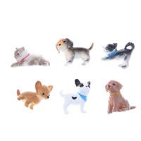 ingrosso animali domestici in miniatura-6 pz / lotto casa delle bambole in scala 1:12 simulazione cane gatto animali domestici modello decorazione accessori regalo in miniatura