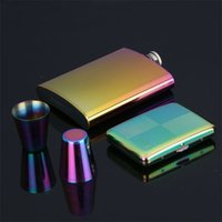 Wholesale set pots stainless resale online - Outdoor Portable Hip Flask Fine Mini Whisky Wine Pot Stainless Steel Gold Plated Carry Flagon On Set Hot Sale tf Y