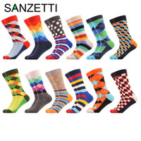 Wholesale colorful knee socks - Wholesale- SANZETTI 12 pairs lot Men's Colorful Multi Style Combed Cotton Colorful Socks Casual Crew Socks Happy Socks Christmas Gift