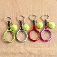 Wholesale tennis keychains wholesale - Bardian Mini Tennis Racket Keychain Car Bag Pendant Keyring Fan Gift Creative Cute Sport Charm Ball Key Buckle 2 6mt Y