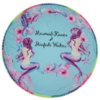 püsküllü püsküller toptan satış-Renkli Yuvarlak Plaj Havlusu Püskül Moda Kadınlar Yoga Mat Polyester Tippet Kadın Yaz Yüzme Sunbath Havlu 2017 Yeni