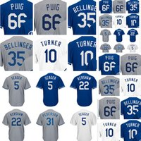 Wholesale Cheap Kershaw - Men's ##5 Corey Seager 22 Clayton Kershaw 23 Adrian Gonzalez Jersey High quality 100% stitched Embroidery Baseball Jerseys Cheap sales