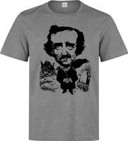 impresiones de obras de arte famosas al por mayor-Edgar Allan Poe Famoso escritor Black Artwork camiseta gris para hombre Impreso Summer Style Tees Male Top Fitness Brand Clothing