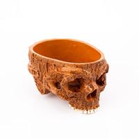 kafatası reçine maskeleri toptan satış-Çim P Alev İnsan Kafatası Saksı Dekoratif Çanaklar Tabaklar El Oyma Reçine El Sanatları Için Alien Maske Bahçe Pot Cadılar Bayramı Ev dekor