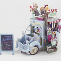 Wholesale greeting cards pop - Wholesale- (OOTDTY) 2017 NEW 3D Pop Up Festoon Vehicle Greeting Card Christmas Valentine Birthday Invitation MAR20_17