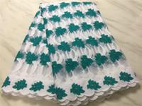 weiße seidenschnur großhandel-Großhandel Afrikanisches Spitzegewebe 2018 Guipure milchseide Spitzegewebe Hohe Qualität Nigerianische Schnur Spitze Für Frauen weiß, grün