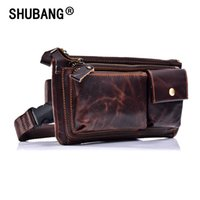 Wholesale small travel packs for sale - Group buy Genuine Leather Waist Packs Fanny Pack Belt Bag Phone Pouch Bags Travel Waist Pack Male Small Waist Bag Leather Pouch