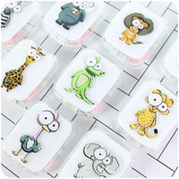 Wholesale eye glasses kit - Cute Cartoon Animal Lions Ostrich Travel Necessity Glasses Box Case for Contact Lenses Eyes Care Kit Holder Container Girls Gift