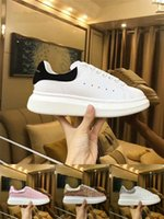 Wholesale purple dress white shoes online - 2018 Desinger Women Men Sneakers Shoes Comfort Casual Shoes Platform Red Bottom Mqueen Shoes Leather Lace Up Oxford Leather Dress Shoe