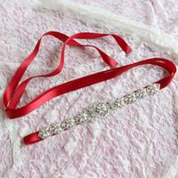 Wholesale rhinestone cummerbund for sale - Group buy Women Waist Belts Floral Cummerbunds Elegant Rhinestone Satin Ribbon Sash Bride Wedding Party Accessories Dress Waistband Belts