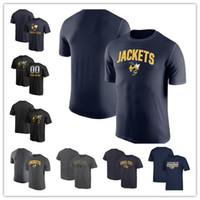 xxxl mascote venda por atacado-Mens GA Tech Yellow Jackets Fanatics Marca Campus T-Shirt Meia-noite Mascote T-Shirt marinha cinza preto tamanho S-XXXL frete grátis