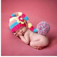 ingrosso cappelli rossi a crochet per i ragazzi-Neonato Fotografia Puntelli cappello per neonato Costume per neonato Photo Red Hat Neonata Ragazzi Crochet Knit Costume Photography Prop Hat Cap
