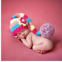 bonecos de crochet vermelho recém-nascidos venda por atacado-Recém-nascido Fotografia Props chapéu do bebê Traje Infantil Foto Pro Chapéu Vermelho Do Bebê Da Menina Meninos Crochet Malha Costume Fotografia Prop Hat Cap