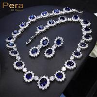 königliche ohrringe großhandel-Pera CZ Große Runde Zirkonia Luxus Braut Hochzeit Royal Blue Stein Halskette Und Ohrringe Schmuck-Sets Für Bräute J126