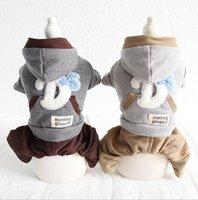 ropa yorkie al por mayor-Ropa para perros de invierno Cuatro pies Ropa para pareja de mascotas Chiwawa Yorkie Bomei Rompers Monos 18AW76