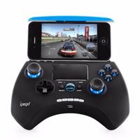 ipega oyunları toptan satış-Touchpad ile iPEGA PG-9028 Kablosuz Bluetooth Oyun Denetleyicisi Gamepads Android IOS Telefonu Için PG 9028 Gamecube Joystick Tutucu ile