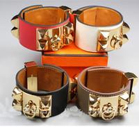 Wholesale Cross Ornaments - 2018 fashion rivet Bracelet ornaments wholesale palm dermis leather bracelet cross stripe star Bangle Bracelet