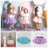 multi layer tutu Canada - Baby Girls Princess Summer Layers Tutu Tulle Skirt Fancy Party Dancewear Decorating with Fairy Rainbow Puff Balls Bow Cute Kawaii 5pcs lot