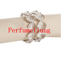 Wholesale bling napkin holders online - Bling Crystal Beaded Napkin Rings Silver Colour Napkin Holder Wedding Party Table Decoration Home Hotel Decor