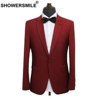 manteau de mariage bordeaux achat en gros de-SHOWERSMILE Burgundy Blazer Pour Hommes Slim Fit Blazer Party Veste Mâle Vêtements De Costume Vestes Gentlemen Wedding Manteau De Mode