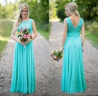 Wholesale long bridesmaid robes online - 2018 New Arrival Turquoise Bridesmaid Dresses Robe de Mariée Cheap Scoop Neckline Chiffon Floor Length Lace V Backless Maid of Honor Dresses
