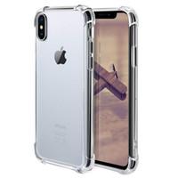 fundas de iphone claro al por mayor-Para iPhone 11 XS MAX XR 7/8 Funda transparente de TPU Absorción de golpes Contraportada suave y transparente para Samsung Note10 S9 S10 Plus