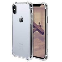 iphone case al por mayor-Para iPhone X XS MAX XR 7 8 Crystal Clear TPU carcasa amortiguador de choque suave panel trasero transparente para Samsung S9 Note9