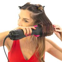 профессиональная кисть для горячего воздуха оптовых-Фабрика Оптовая профессиональный электрический сухой утюг 2 in1 горячий воздух щетка для волос Styler, электрический фен вращающаяся щетка гребень локоны Styler