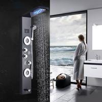 Wholesale massage panels for sale - Bathroom Shower faucet LED Waterfall Rain Shower Panel Massage Jets Tub Shower Column Mixer Tap for bar