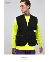 Wholesale new tactical vest - 2018 New Streetwear Tactical Vest Hip Hop Sleeveless Vests Men Cargo Waistcoat with Pockets Military Coat Vest W