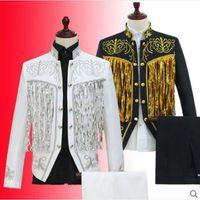 Schwarz Weiß Jacke Hosen Set Plus Size Zweireiher Herren Pailletten Anzüge  Kostüm Bühne Kleidung Dj Männer Sänger Blazer Hosen 081c8c441d