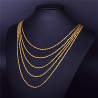 """Men's Hip Hop Rapper's Chain 3mm 18"""" 20"""" 24"""" 30"""" Gold Silver Color Stainless steel Rope Link Necklace Hip hop Jewelry For Women"""