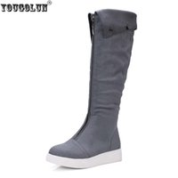 Wholesale Gray Knee High Boots Women - YOUGOLUN women thigh high snow boots women's ladies nubuck flock boots woman knee high women black gray shoes flats