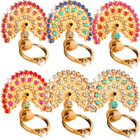 Wholesale wholesale bling tablet for sale - Bling Finger Ring Holder Peacock Diamond Cell phone Stand Bracket Stents For iphone x xr samsung android phone tablet pc mp3
