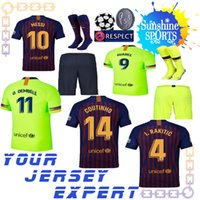 Wholesale messi jersey kids - Barcelona 2018 SUAREZ Jersey soccer 2019 Camisas Blue Dembele Messi INIESTA home away yellow football shirt 18 19 kids men set Sweatshirt