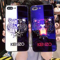 eu telefono ao azul venda por atacado-Barato tigre pintado marca blue ray vidro temperado eu phone case tpu capa para iphone 7/8 p 7/8 6 pçs iphone 6/6 s 2 cores disponíveis