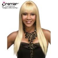 glueless 613 lace perucas venda por atacado-Premier sem cola perucas cheias do laço brasileiro virgem cabelos de seda em linha reta com franja 613 loiro cor perucas para americano