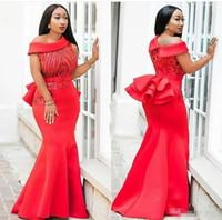 kadınlar için mütevazi gece elbiseleri toptan satış-Artı Boyutu Mermaid Balo Resmi Elbiseler 2019 Mütevazı Kırmızı Kristal Aplike Afrika Peplum Trompet Kadınlar Vesilesiyle Akşam Elbise