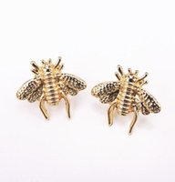Wholesale Antique Rhinestone Brooches - Vintage Bee Brooches Pins Antique Stereoscopic Cameo Metal Cute Bees Insect Brooches Gold Plated Party Accessories Jewelry