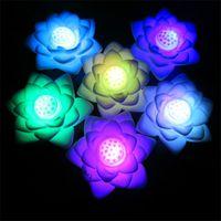 ingrosso ha condotto le luci fiorite che cambiano colore-Auto cambiamento di colore Fiore di loto Luce notturna Fiore di loto LED Luce di notte Decorazione lampada romantica Q0349